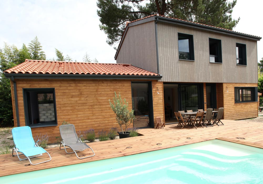 Maison bois étage bioclimatique