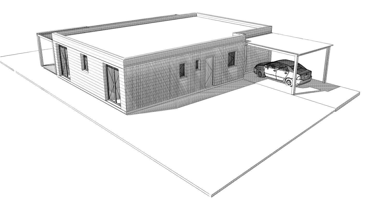 esquisse plan maison ossature bois