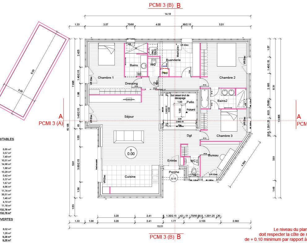 Maison-ossature-bois-patio SAINT-JEAN-D-ILLAC-plan